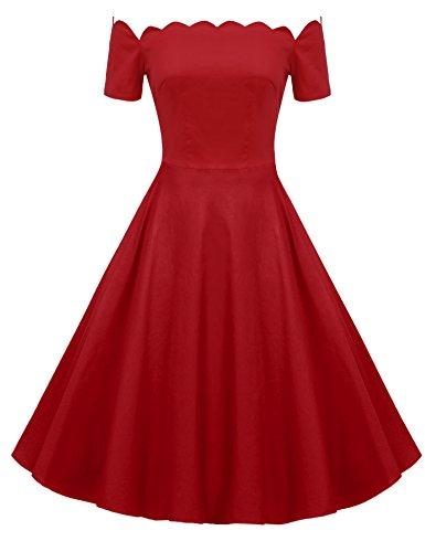 ACEVOG Women's Vintage Dress Short Sleeve Retro Party Rockabilly Dresses Red S