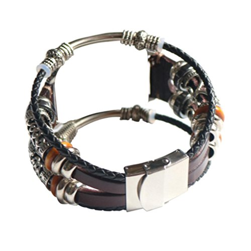 Hongxin Watchbands For Apple Watches Punk Design Turkish Eye Bracelets For Men Woman Wristband Female Owl Leather Bracelet Stone Vintage Jewelry For Apple Watch Series 1/2/3 38/42mm (42mm, Coffee) (Best Female Punk Bands)