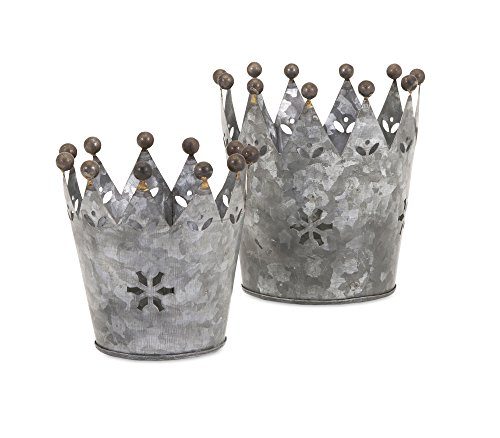 IMAX 84863-2 Maddy Galvanized Crowns (Set of 2)