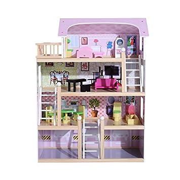 Amazing TZ D1500 Puppenhaus Aus Holz MDF Wooden Doll Haus Mit Möbeln 3 Etagen Mit  AUFZUG