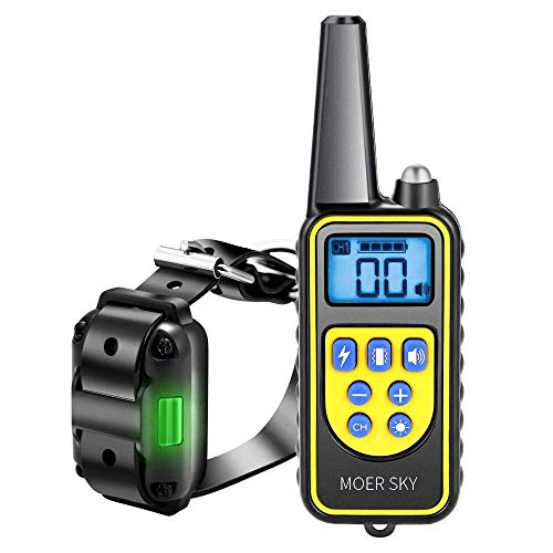 Moer Sky Dog Training Collar, Upgraded 100% Waterproof Rechargeable 875 Yards Remote Dog Shock Collar with LED Light/Beep/Vibration/Shock for Small Medium Large Dogs ()