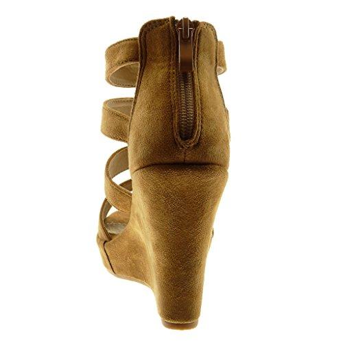 Multi Cm Scarpe Piattaforma briglia Moda toe Angkorly Sandali Tacco Cammello Mules Gladiatore 11 Peep Zeppe Zeppa Donna ZzOqwxO