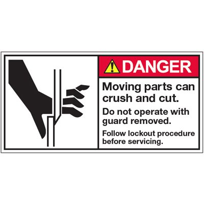Vinyl ANSI Warning Labels - Danger Moving Parts Can Crush - 2''h x 4''w, White MOVING PARTS CAN CRUSH AND CUT. DO NOT OPERATE WITH GUARD REMOVED. - Super-Stik Adhesive
