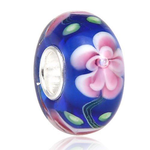 Blue Hawaii Flower Glass Charm - 925 sterling silver core - Fits European Bracelet