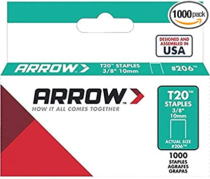 """PACK OF 1000 ARROW T-20 T20 10MM 3//8/"""" STAPLES FOR USE WITH T2025 TACKER"""