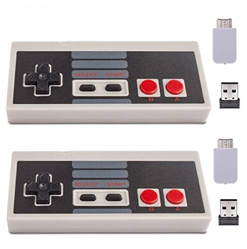 Wireless Controller for Mini NES Classic Edition (SNES) - Upgraded Turbo Function,Build in Rechargeable Battery,with USB Wireless Adapter Compatible with PC, Mac OS, Raspberry PI by Honwally(2 Packs)