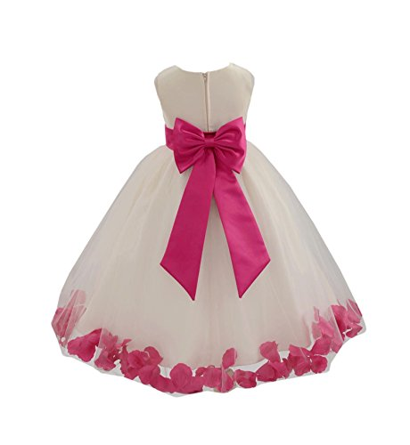 Wedding Pageant Flower Petals Girl Ivory Dress with Bow Tie Sash 302a 4