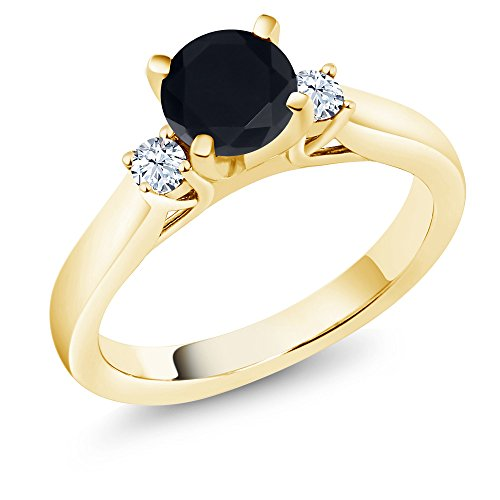 Gem Stone King 1.60 Ct Black Zirconia White Created Sapphire 18K Yellow Gold Plated Silver Ring (Size 7)