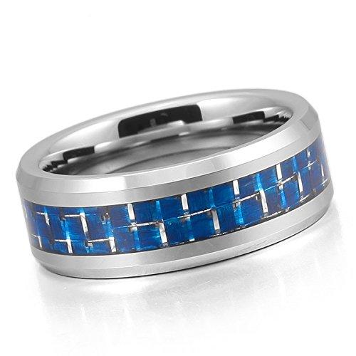 MunkiMix 8mm Tungstène Carbone Fibre Bague Anneau Bague Ton d'Argent Bleu Carreau Comfort Fit Mariage Homme