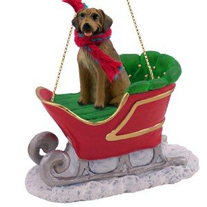Rhodesian Ridgeback Sleigh Ride Christmas Ornament - DELIGHTFUL! ()