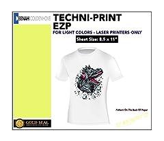 "Neenah TECHNI-PRINT EZP, 8.5""x11"" Color Laser Transfer Paper (10 Sheets). The latest generation of TECHNI-PRINT paper, designed to run in ANY non-oil color laser copier or color laser printer. TECHNI-PRINT EZP is a ""solid-film"" transfer paper..."