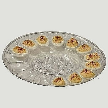 Deviled Egg Clear Plastic Crystal Cut Platter - Set of 2