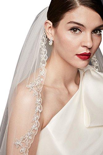 Passat Diamond White Single-Tier 3M Cathedral Filigree Metallic Embroider ybeaded edge wedding veil DB65 by Passat