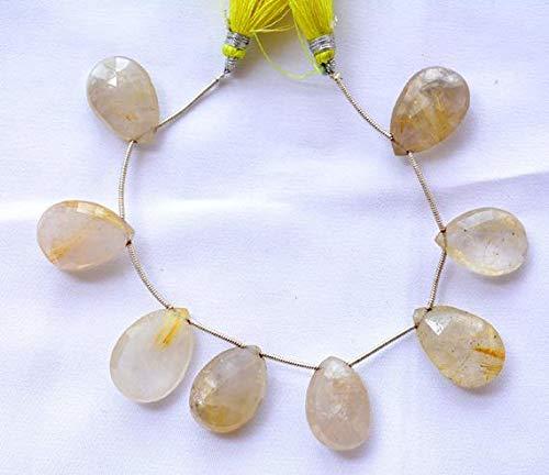 (GemAbyss Beads Gemstone Golden Rutile Quartz Pear Shape Beads, Faceted Beads, Rutile Quartz Briolettes Beads, 14x21mm Approx, 6 Inch Strand Code-MVG-24369)