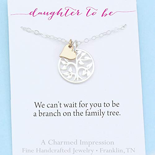 Daughter To Be Gift • Welcome to Our Family Tree • Sterling Silver Necklace • 18 Inch Chain • Silver Tree Gold Heart Charm • Handcrafted Personalized Jewelry