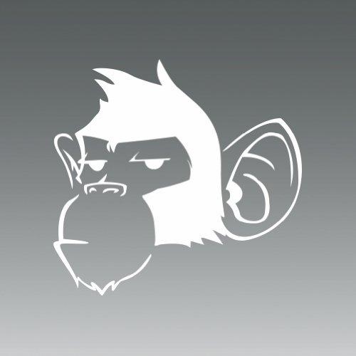Full Details Monkey ((2x) Monkey - White - Sticker - Decal - Die Cut)