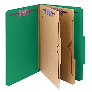 """Smead Pressboard Classification File Folder with Wallet Divider and SafeSHIELD® Fasteners, 2 Dividers, 2"""" Expansion, Legal Size, Green, 10 per Box (19083)"""