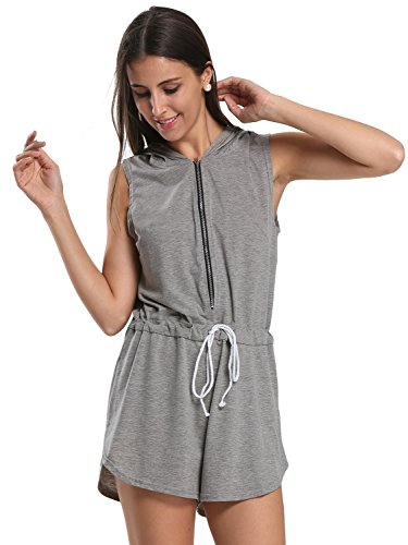 Choies Womens Hooded Zipper Playsuit