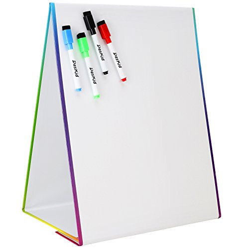 Tabletop Magnetic Easel & Whiteboard (2 Sides) Includes: 4 Dry Erase Markers. Drawing Art White Board Educational Kids Toy by DasKid
