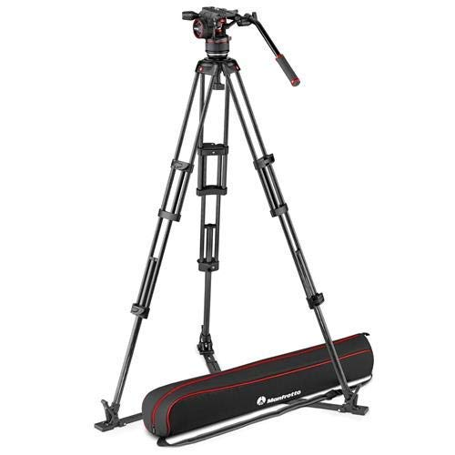 Manfrotto Nitrotech N8 Head & Carbon Fiber Twin Leg Video Tripod Kit, Ground Spreader, 100/75mm Bowl