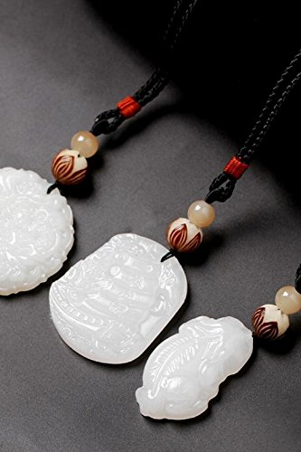 Generic Afghan white jade pendant chain length sweater simple Beautiful men and women Pu Tizi necklace hanging jewelry national wind accessories (Beautiful Afghan)