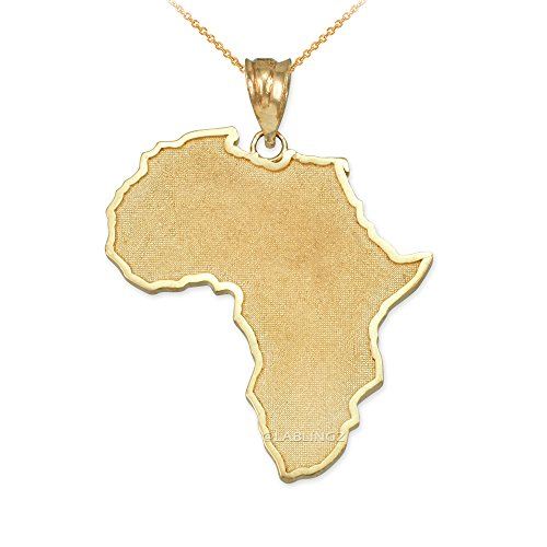 14K Yellow Gold Africa Map Necklace (22) by Travel & Destinations Jewelry