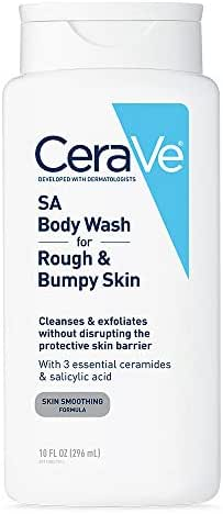 CeraVe Body Wash with Salicylic Acid | 10 Ounce | Fragrance Free Body Wash to Exfoliate Rough and Bumpy Skin | Packaging May Vary