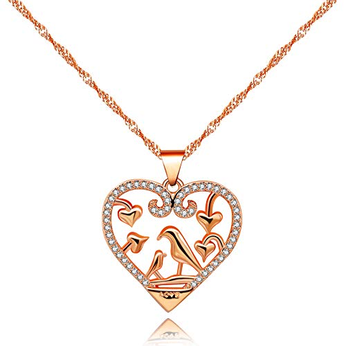 Uloveido Mama and Baby Hummingbird Birds in Love Heart Pendant Necklace Micro Pave Round Cubic Zirconia, Birthday Gifts for Mom Grandma (Rose Gold) Y483