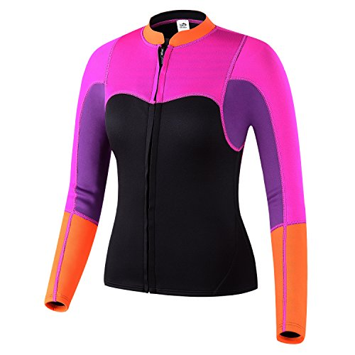 Lemorecn Womens 2mm Neoprene Long Sleeve Jacket Surfing Swimsuit Front Zipper Wetsuit Top (Large, Purple+rosered)