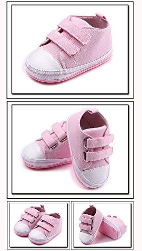 QZBAOSHU Säuglingskleinkind Erste Wanderer Schuhe Weiche Untere Segeltuch-Schuhe für Baby-Mädchen-Baby-Jungen Rosa-1