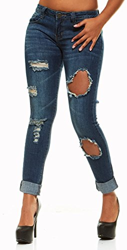 en Butt Lift Skinny Jeans for Women with Lift Band Plus Size Size 14 Dark Blue Wash ()