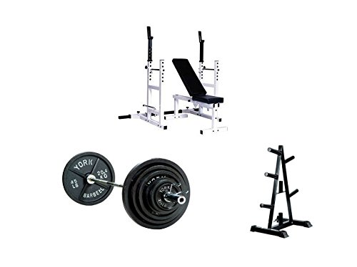 lb Olympic Weight Set with A-Frame Tree Plate, Barbell Support and Bench ()