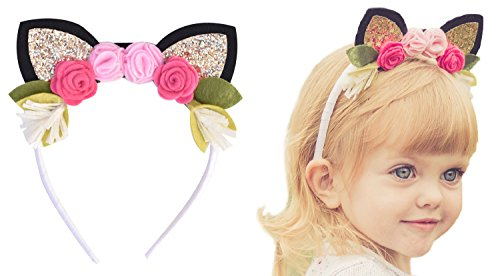 Kitty Cat Headband with Glitter Ears & Felt Flower Crown for Babies, Toddlers, (Ariana Grande Halloween Focus)