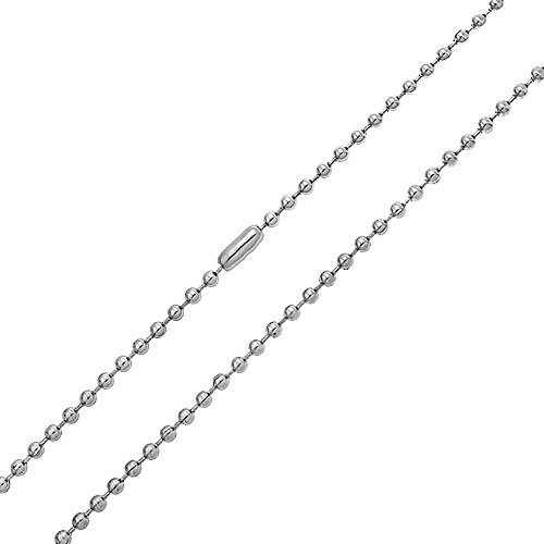 Bling Jewelry Stainless Steel Unisex Beaded Ball Chain Necklace 3mm 24 Inches (Grey Bling Basic)