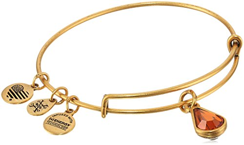 (Alex and Ani November Birth Month Charm with Swarovski Crystal Rafaelian Gold Bangle Bracelet)