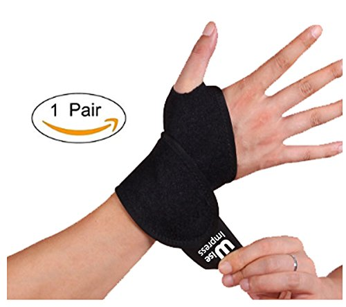 Wrist Wraps Brace Support For Carpal Tunnel Arthritis - Compression Braces Stabilizer - For Men Women Kids - Left And Right Hand - One Hand Adjustable - Best For Weight Lifting Bowling Workout (Black) - Carpal Tunnel Wrap