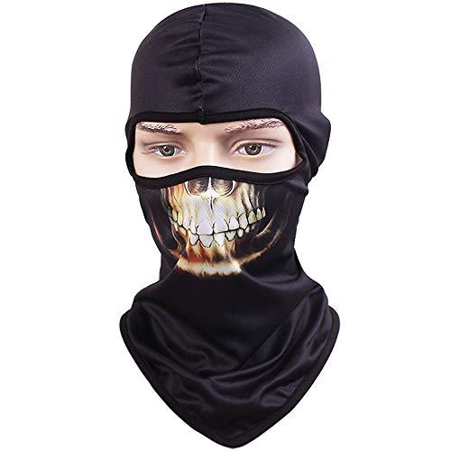 TClian Skull Mask Balaclava Ghost Skeleton Bandana Motorcycle Cycling Balaclava Full Face Masks UV Protective Quick dry Breathable Military Tactical Airsoft Paintball Masks Halloween Mask (Skull-04)