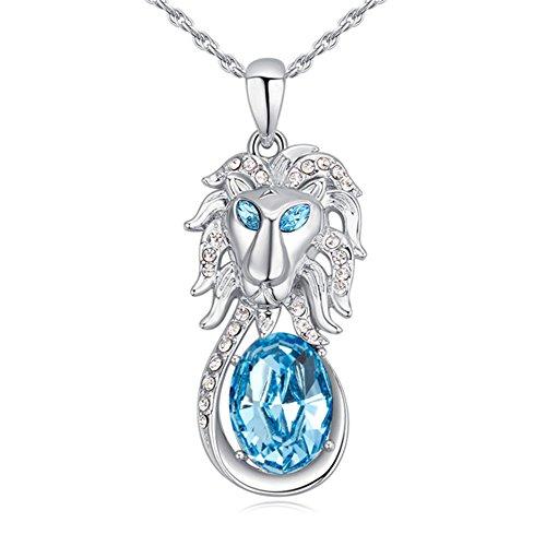 F&U Fashion necklace-Austria Crystal,shape of lion head (sea blue color),Sweater (Blue Lion Head)