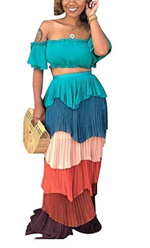 Women's Chiffon 2 Piece Sets Off Shoulder Backless Tube Crop Tops and Wrap Long Maxi Skirt Set Dress Green ()