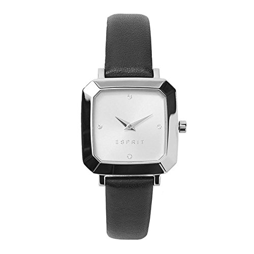 ESPRIT WOMEN'S 28MM BLACK LEATHER BAND STEEL CASE QUARTZ WATCH ES109322001