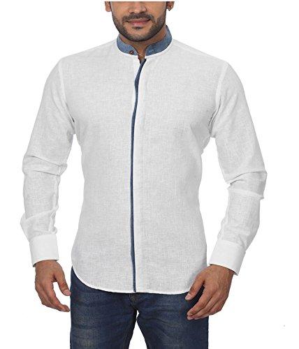 GlobalRang Men's Casual Stand Collar Denim Pattern Linen Shirt