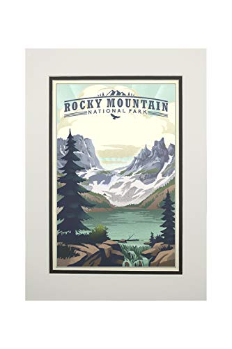 Rocky Mountain National Park, Colorado - Lake - Lithograph (11x14 Double-Matted Art Print, Wall Decor Ready to Frame)