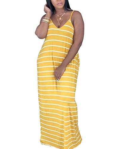 (ECHOINE Womens Casual Maxi Dress - African Loose Oversize Spaghetti Strap Stripe Dress Outfit with Pockets Yellow)