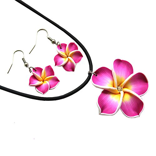 Donau Plumeria Fimo Flower Earring Pendant Necklace Jewelry Set 6Colors -