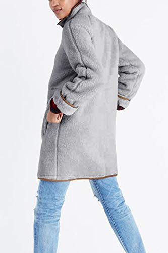 Giacca Giacca Giacca Donne YACUN al Cappotto Cappotto Cappotto Le Grey Lunghe Maniche Zip Casual A Massimo Outwear Giacche fFSB6S