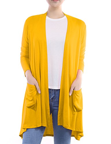 BIADANI Women Long Sleeve Classic Lightweight Front Pockets Cardigan Mustard (Print Knit Duster)