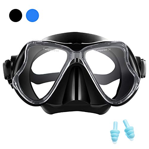Supertrip Snorkeling Diving Mask Adult, Anti-Fog Film Tempered Glasses Panoramic 180°Wide View Diving Goggles(Black)