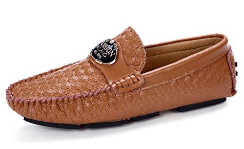 Tda Heren Modern Geprint Leer Casual Instapschoenen Loafers Bruine Bootschoenen