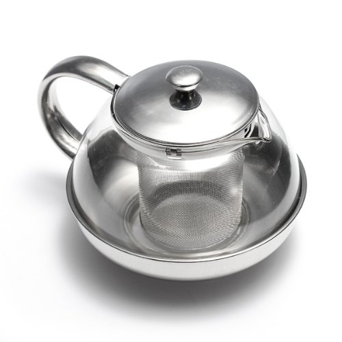 MECO Stainless Steel Glass Faced Modern Teapot with Herbal Tea Leaf Infuser 600ml