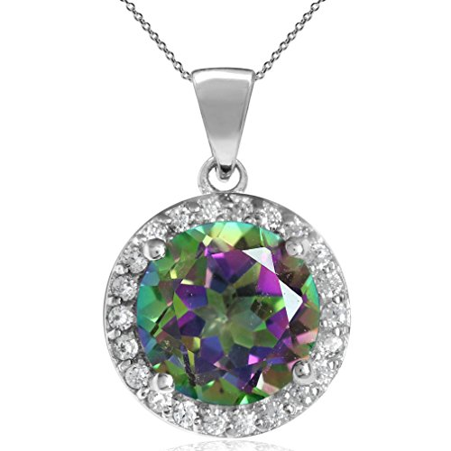 3.21ct. 9MM Round Shape Mystic Fire Topaz 925 Sterling Silver Halo Pendant w/18 Inch Chain Necklace